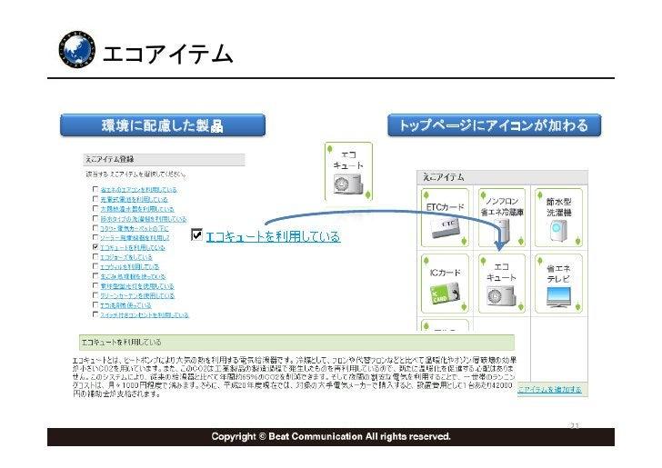 エコアイテム  環境に配慮した製品   トップページにアイコンが加わる                              21