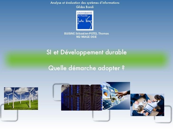 Analyse et évaluation des systèmes d'informations                   Gildas Bondi          BUISINE Sébastien-POTEL Thomas  ...