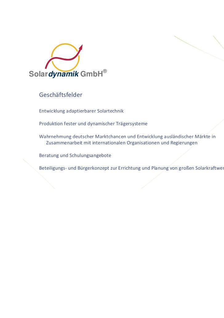 ®Solardynamik GmbH  Geschäftsfelder  EntwicklungadaptierbarerSolartechnik  Entwicklung adaptierbarer Solartechnik  Produ...