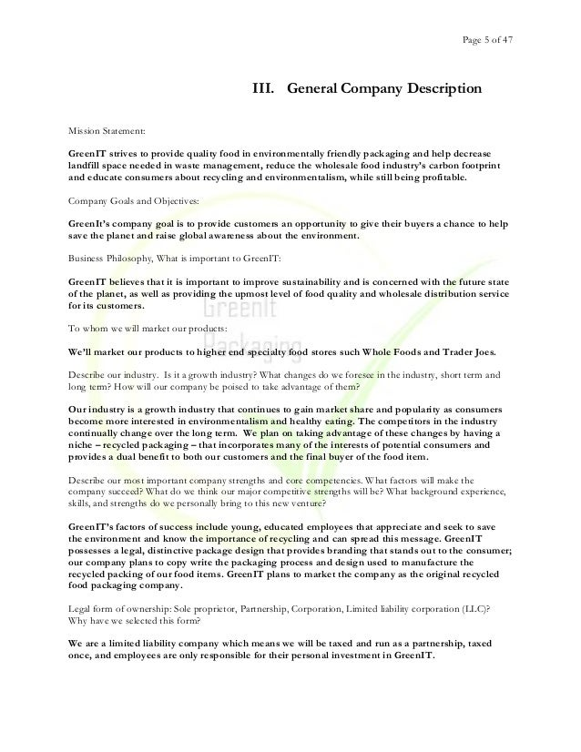 Green It - Business Plan