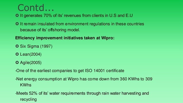 green it matters at wipro case Sustainability at wipro case analysis - download as powerpoint presentation (ppt / pptx), pdf file (pdf), text file (txt) or view presentation slides online.