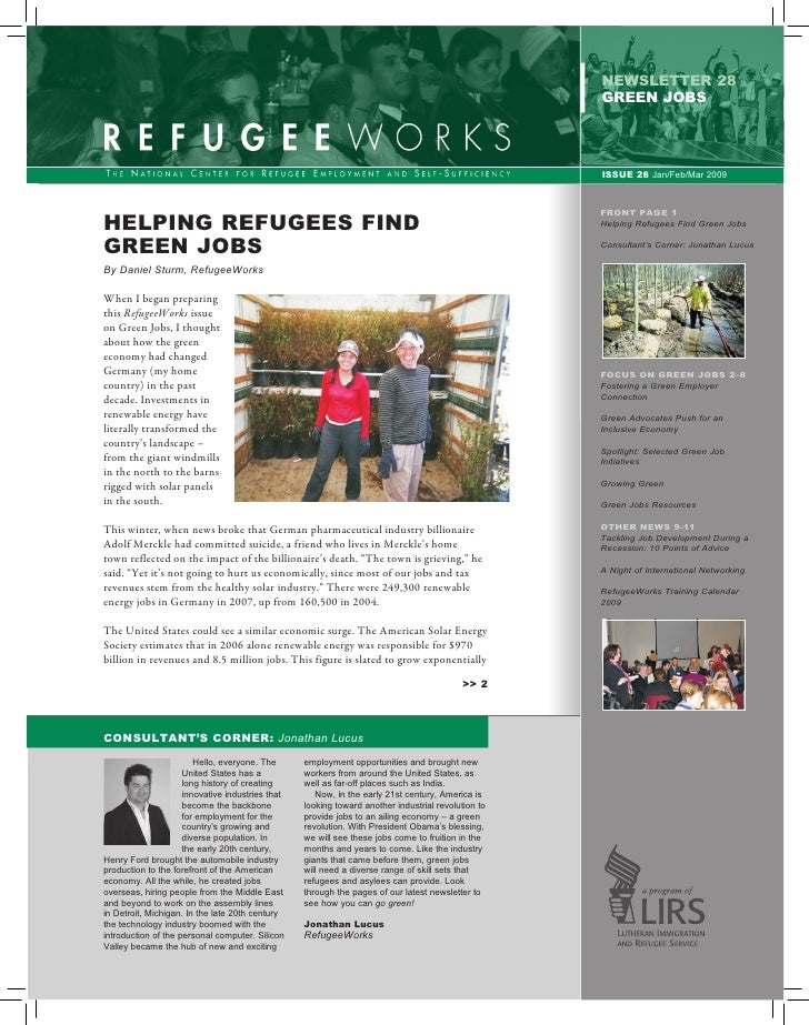 newsletter 28                                                                                                    GREEN job...