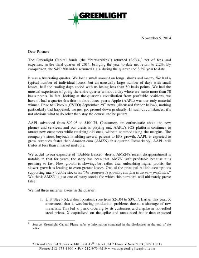 Greenlight capital 2014 q3 investor letter by insider monkey