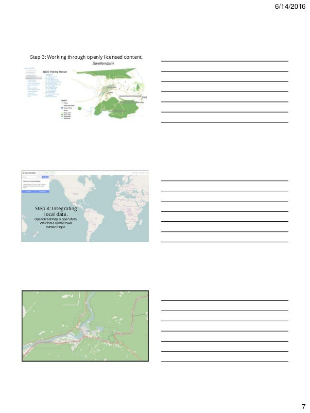 6/14/2016 7 Step 3: Working through openly licensed content. Step 4: Integrating local data. OpenStreetMap is open data. W...