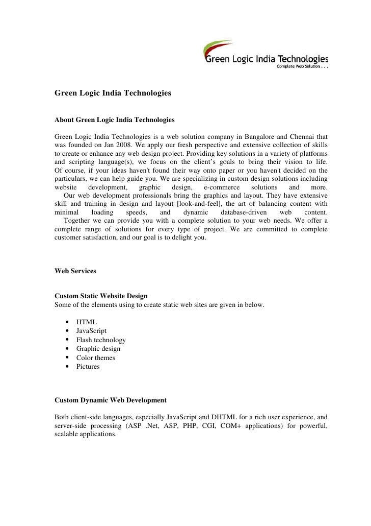 Green Logic India Technologies   About Green Logic India Technologies  Green Logic India Technologies is a web solution co...