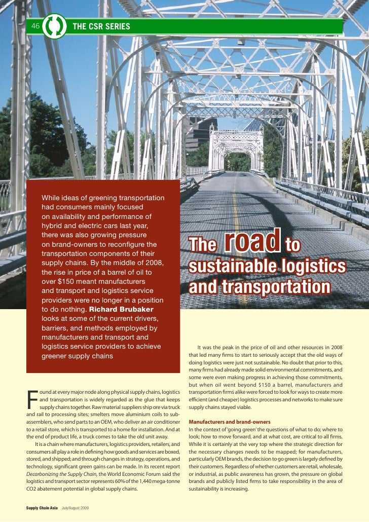 46                     THE CSR SERIES             While ideas of greening transportation         had consumers mainly focu...