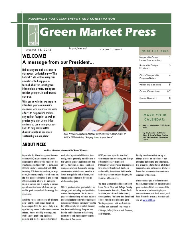NAPERVILLE FOR CLEAN ENERGY AND CONSERVATION                    Green Market Press    A UG US T 1 5 , 2 0 12              ...