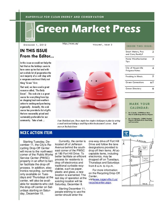 NAPERVILLE FOR CLEAN ENERGY AND CONSERVATION                 Green Market Press                                           ...