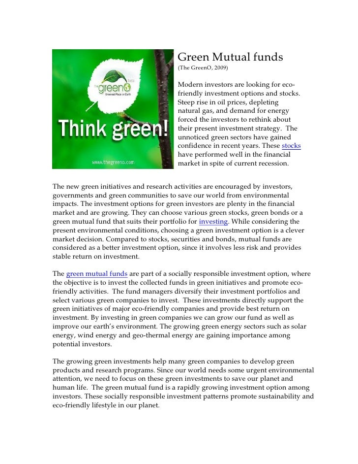 Green Mutual funds                                         (The GreenO, 2009)                                          Mod...
