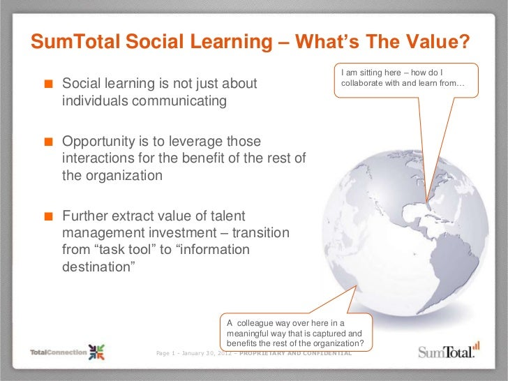 SumTotal Social Learning – What's The Value?                                                                        I am s...