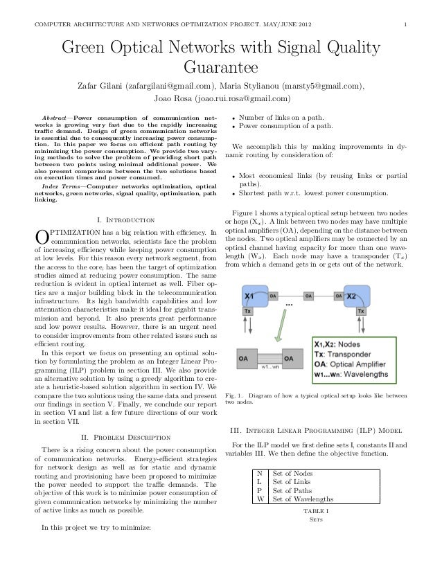 COMPUTER ARCHITECTURE AND NETWORKS OPTIMIZATION PROJECT. MAY/JUNE 2012                                                    ...
