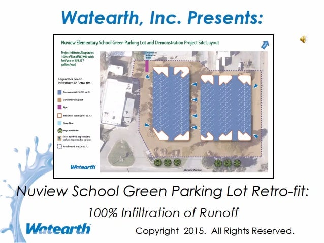 Watearth Nuview School Green Parking Lot Retro-fit: 100% Infiltration of Runoff