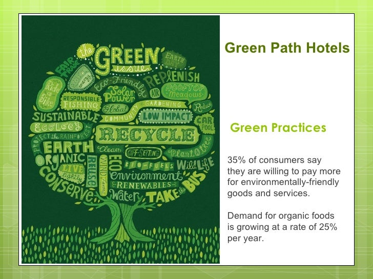 Green Path HotelsGreen Practices35% of consumers saythey are willing to pay morefor environmentally-friendlygoods and serv...