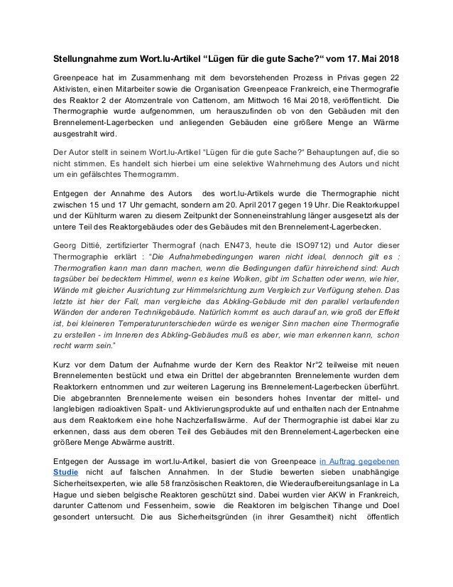 """Stellungnahme zum Wort.lu-Artikel """"Lügen für die gute Sache?"""" vom 17. Mai 2018 Greenpeace hat im Zusammenhang mit dem bevo..."""