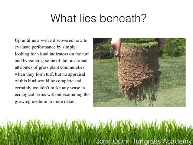 John Quinn Turfgrass Academy What lies beneath? Up until now we've discovered how to evaluate performance by simply lookin...
