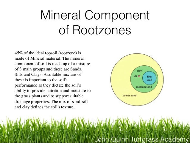 John Quinn Turfgrass Academy Mineral Component of Rootzones 45% of the ideal topsoil (rootzone) is made of Mineral materia...