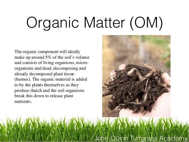 John Quinn Turfgrass Academy Organic Matter (OM) The organic component will ideally make up around 5% of the soil's volume...