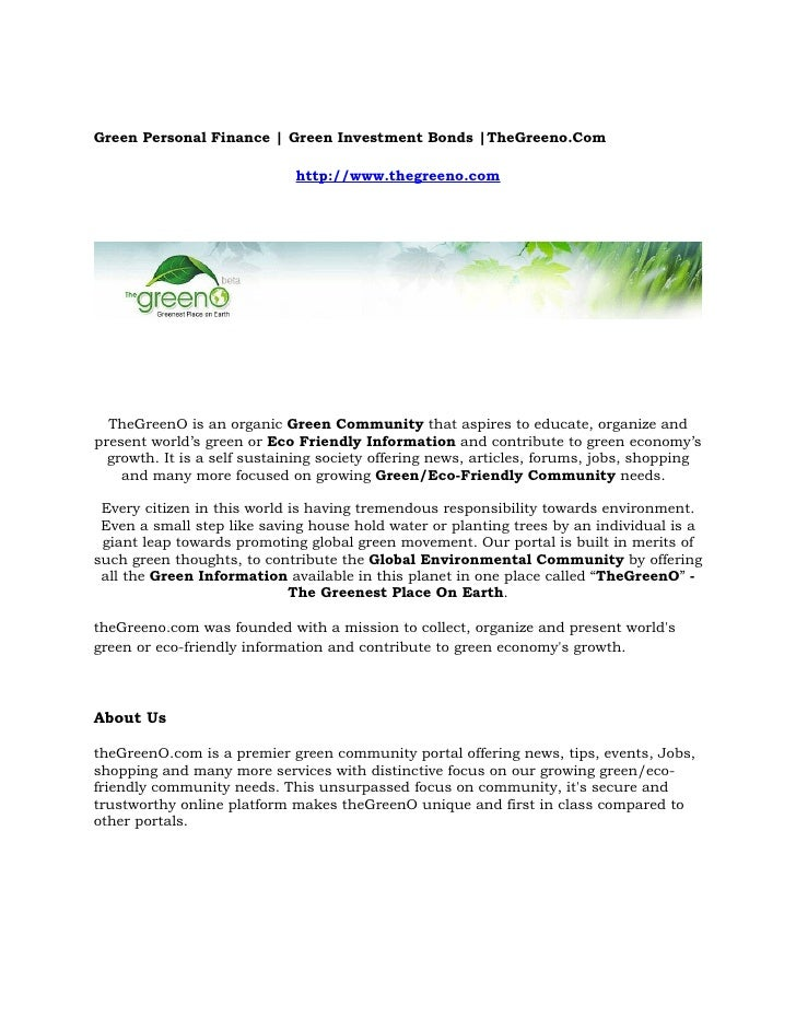 Green Personal Finance | Green Investment Bonds |TheGreeno.Com                               http://www.thegreeno.com     ...