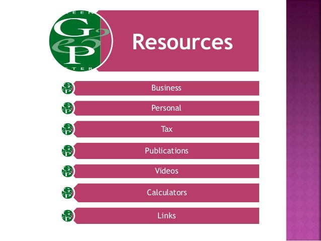 Resources Business Personal Tax Publications Videos Calculators Links