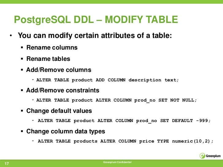 Green plum - Alter table modify default ...
