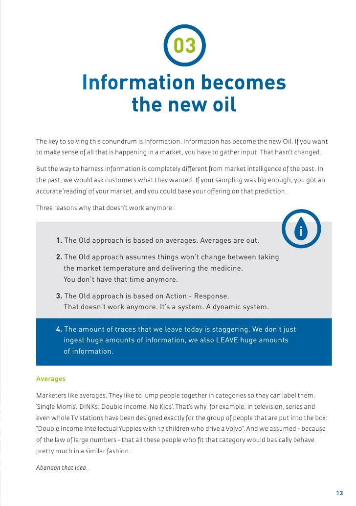 03               Information becomes                    the new oilThe key to solving this conundrum is Information. Infor...