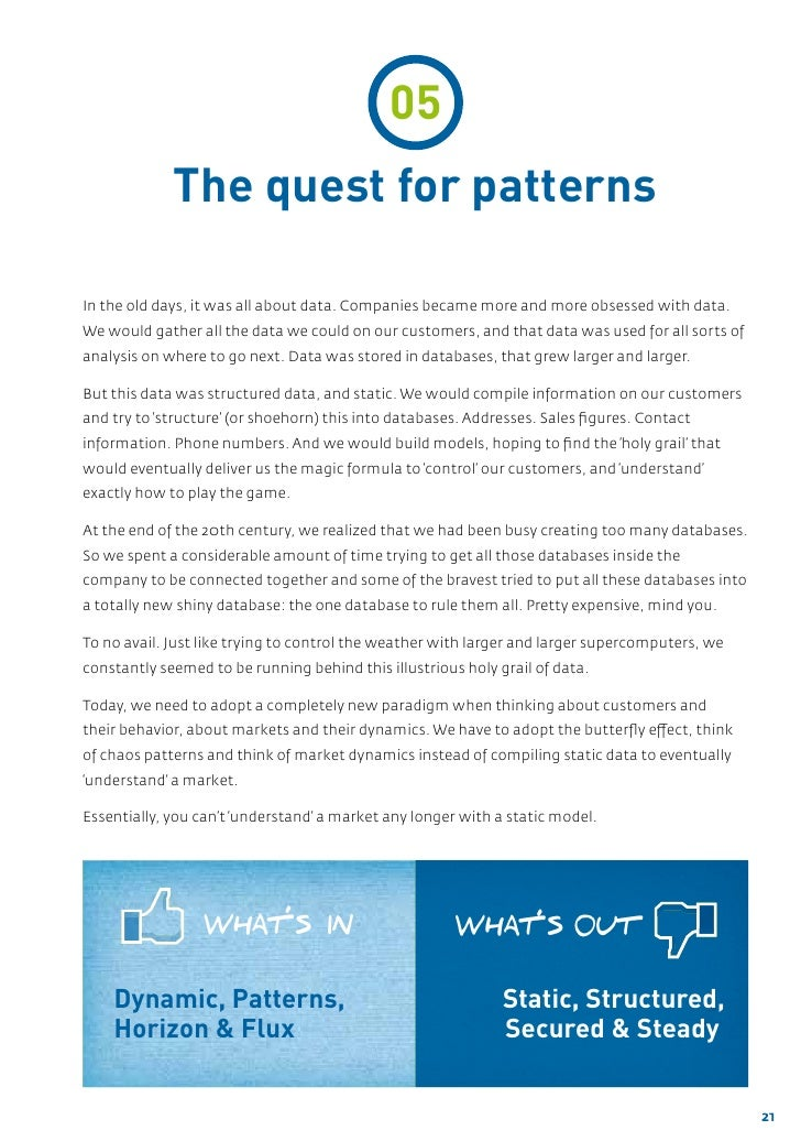 05             The quest for patternsIn the old days, it was all about data. Companies became more and more obsessed with ...