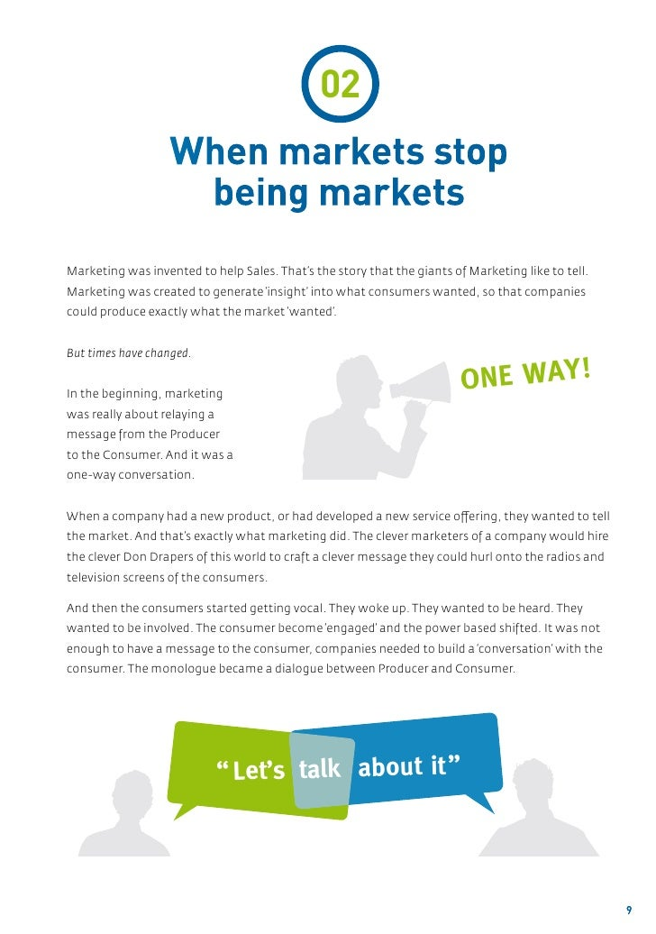 02                   When markets stop                    being marketsMarketing was invented to help Sales. That's the st...