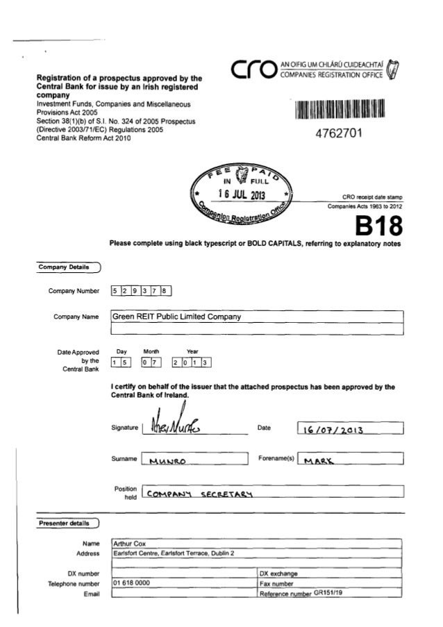 Registration of a prospectus approved by the Central Bank for issue by an Irish registered company  C(io  Investment Funds...