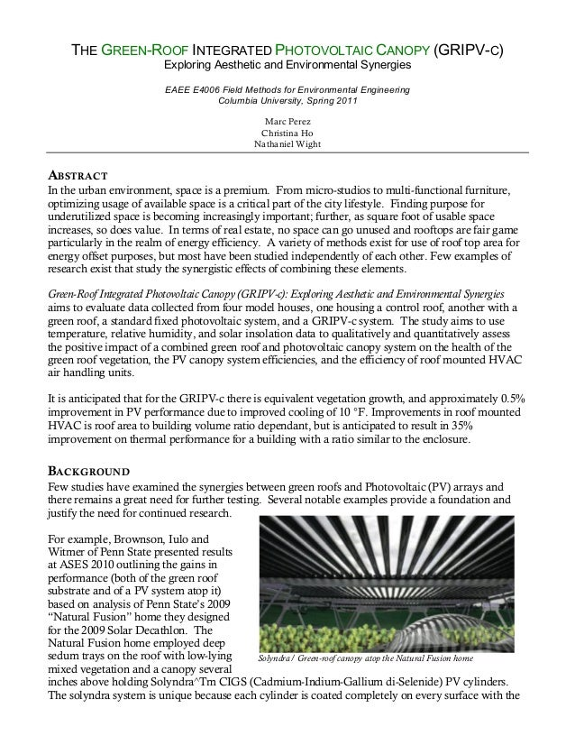 THE GREEN-ROOF INTEGRATED PHOTOVOLTAIC CANOPY (GRIPV-C)                         Exploring Aesthetic and Environmental Syne...