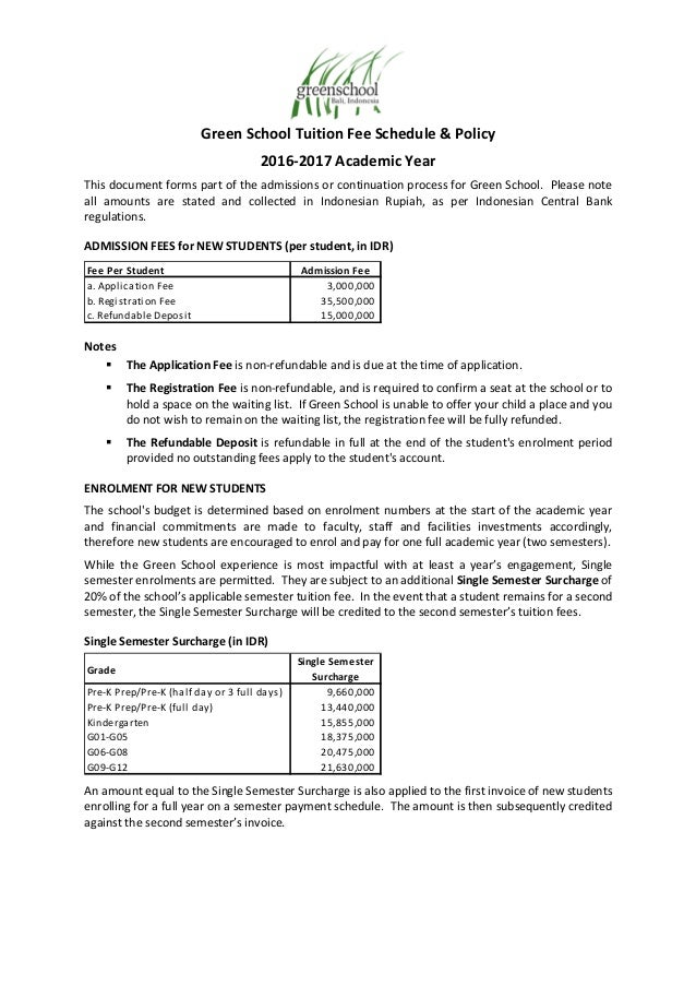 Green school tuition fees schedule 2016 17