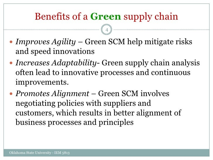 benefits of a green supply chain The benefits of supply chain sustainability are often highlighted as reduced carbon footprint, reduced energy, and reduced resource consumption however, the benefits are much greater than those associated with the logistics and transportation segment of the supply chain.