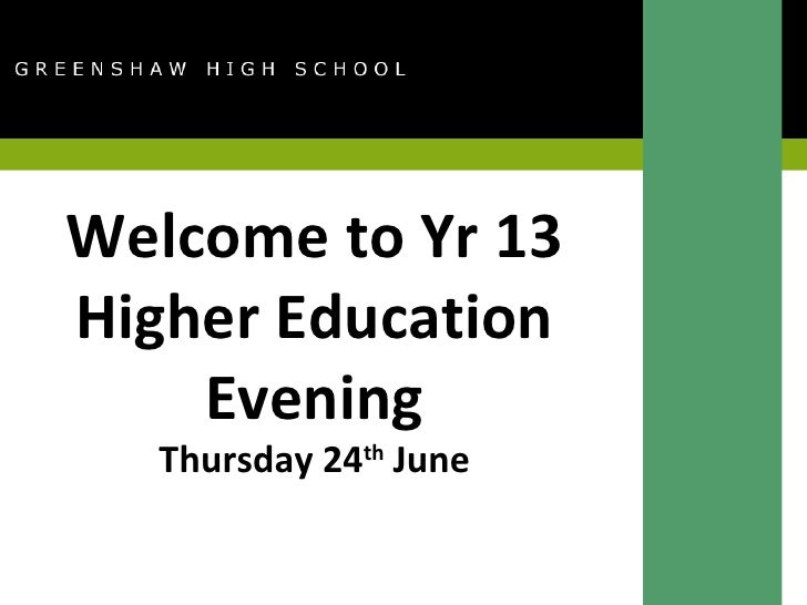 Welcome to Yr 13 Higher Education Evening Thursday 24 th  June