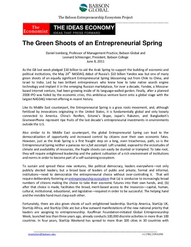 The Babson Entrepreneurship Ecosystem Project __________________________________________________________________  The Gree...