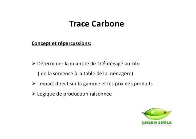 Trace Carbone Concept et répercussions: Déterminer la quantité de CO² dégagé au kilo 4 ( de la semence à la table de la mé...