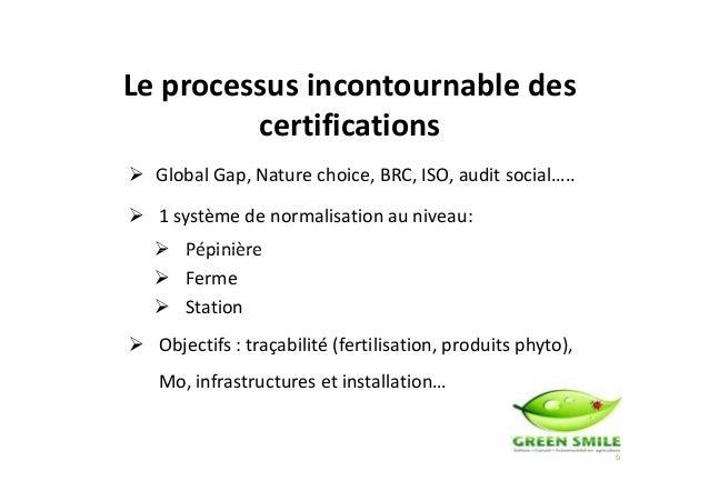 Global Gap, Nature choice, BRC, ISO, audit social….. 1 système de normalisation au niveau: Pépinière Le processus incontou...
