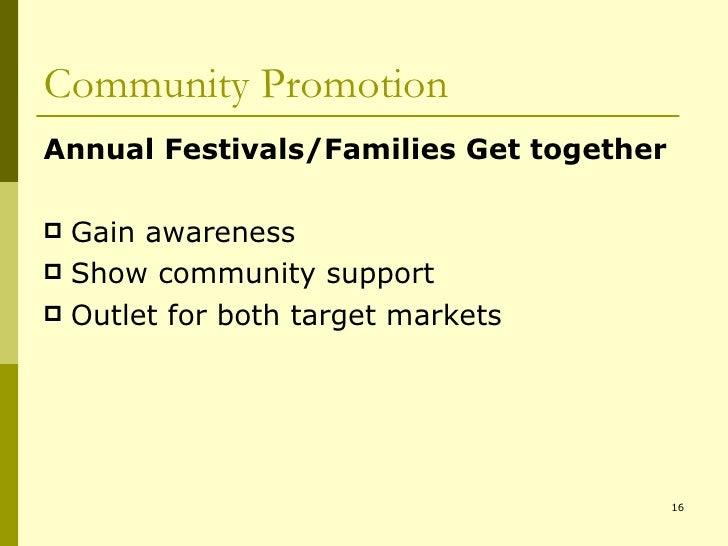 Community Promotion <ul><li>Annual Festivals/Families Get together </li></ul><ul><li>Gain awareness  </li></ul><ul><li>Sho...