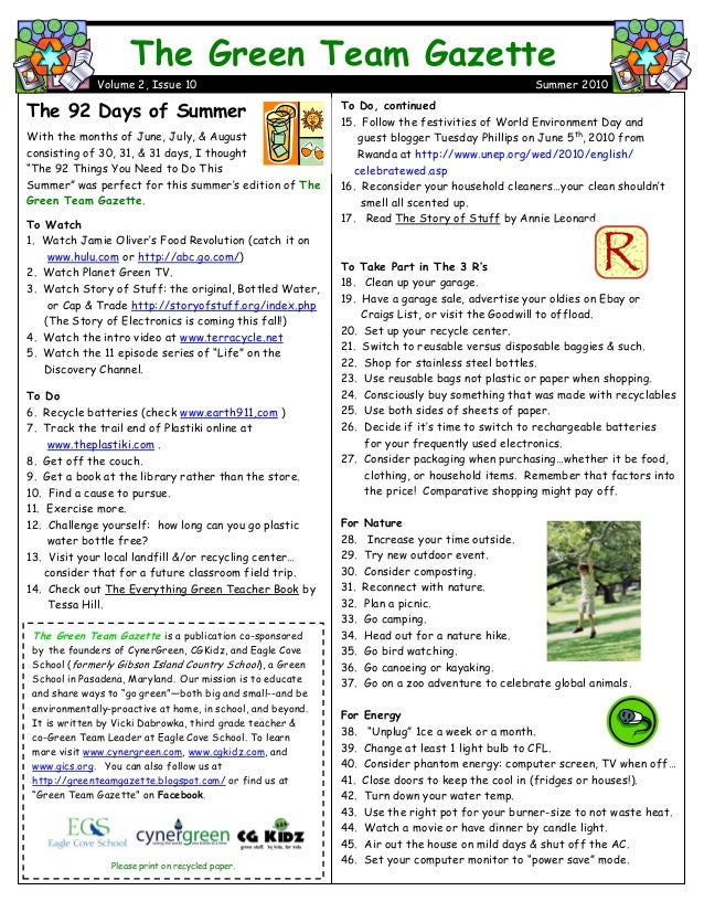 To Do, continued 15. Follow the festivities of World Environment Day and guest blogger Tuesday Phillips on June 5th , 2010...