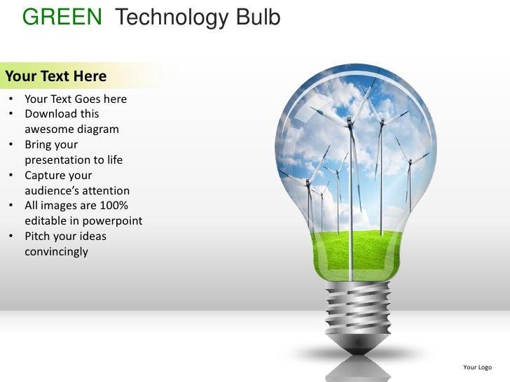 Green technology bulb powerpoint presentation templates