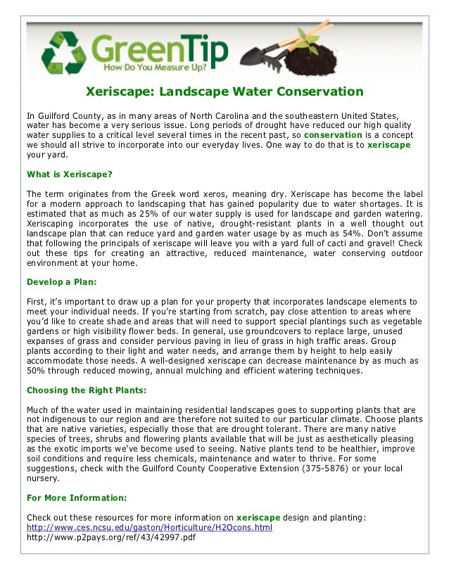 Xeriscape: Landscape Water ConservationIn Guilford County, as in many areas of North Carolina and the southeastern United ...