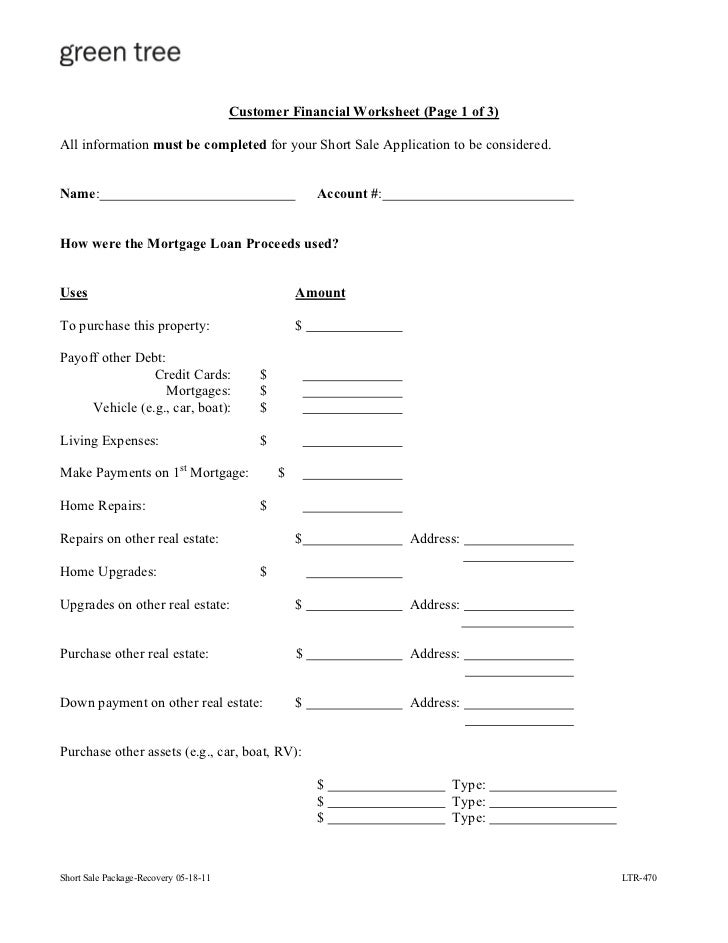 Worksheets Short Sale Financial Worksheet greentree short sale package 4 customer financial worksheet