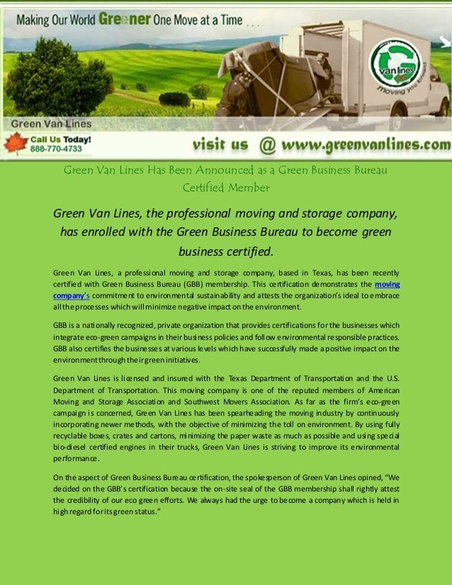 Green Van Lines Has Been Announced as a Green Business Bureau Certified Member Green Van Lines, the professional moving an...