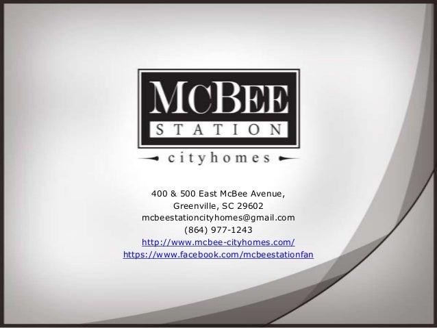 400 & 500 East McBee Avenue, Greenville, SC 29602 mcbeestationcityhomes@gmail.com (864) 977-1243 http://www.mcbee-cityhome...