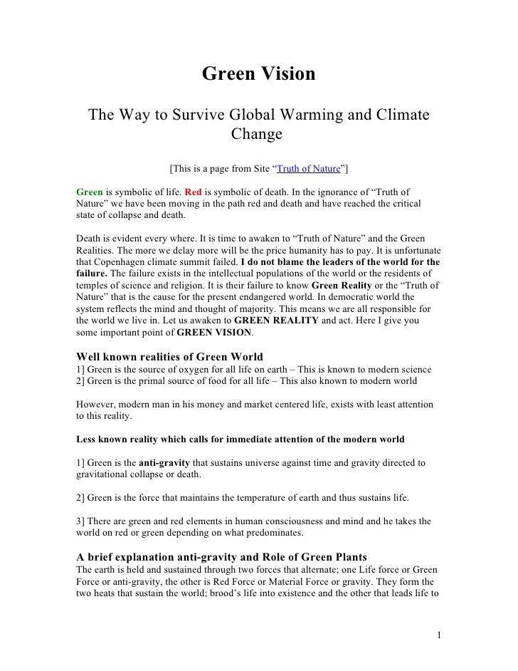 Green Vision    The Way to Survive Global Warming and Climate                       Change                         [This i...