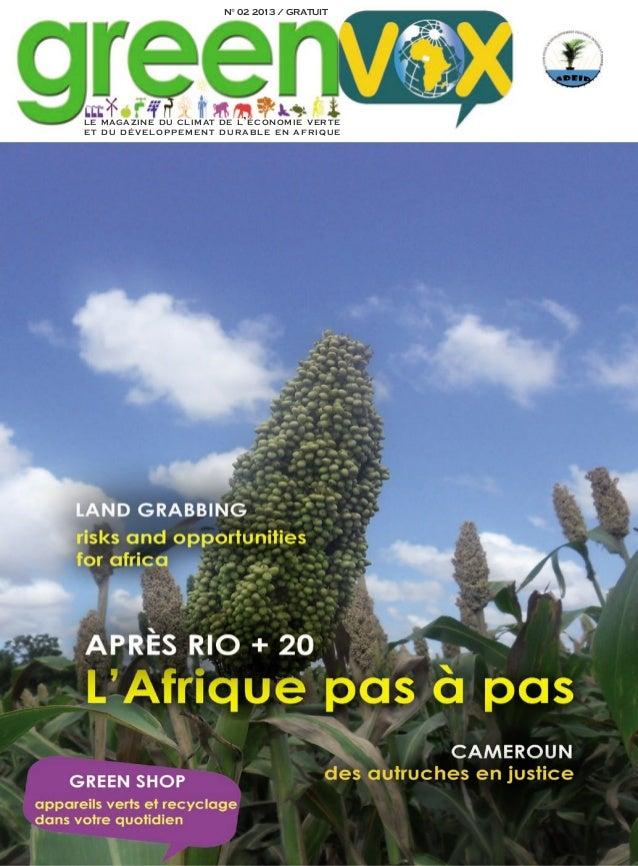 N° 02 2013 / GRATUITle magazine du climat de l ' économie verteet du dévelo ppem ent d u r a b le e n afrique