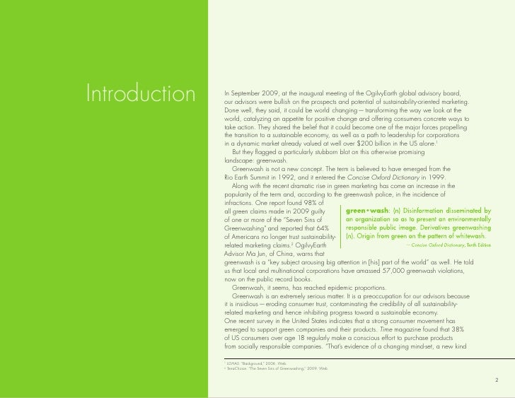 Introduction   In september 2009, at the inaugural meeting of the ogilvyearth global advisory board,                our ad...