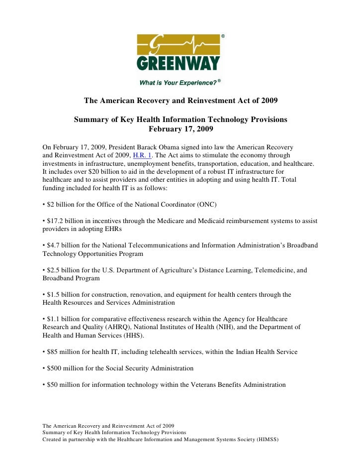 The American Recovery and Reinvestment Act of 2009              Summary of Key Health Information Technology Provisions   ...