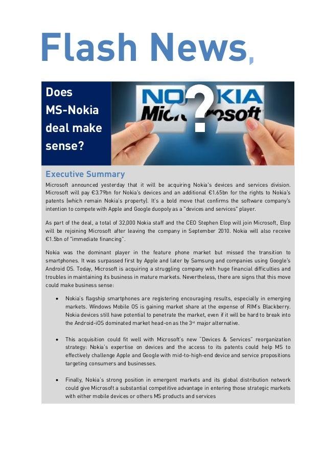 oes Microsoft & Nokia deal make sense? | Greenwich Institute Flash News
