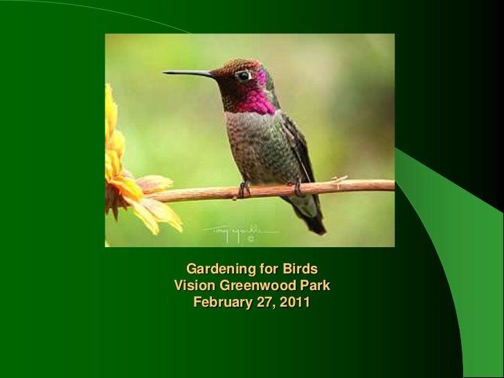 Gardening for BirdsVision Greenwood ParkFebruary 27, 2011<br /><br />