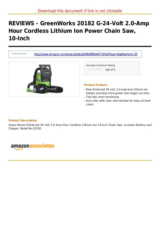 Download this document if link is not clickableREVIEWS - GreenWorks 20182 G-24-Volt 2.0-AmpHour Cordless Lithium Ion Power...