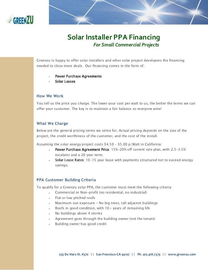 Solar Installation Solar Ppa Financing Commercial Solar Info
